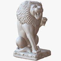 3D sitting lion sculpture 1m model