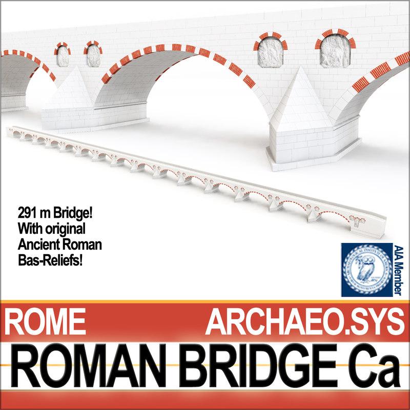 ancient roman bridge ca 3D model