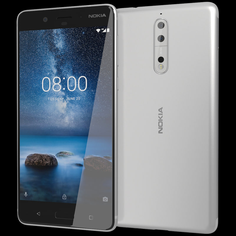 3D realistic nokia 8 steel model