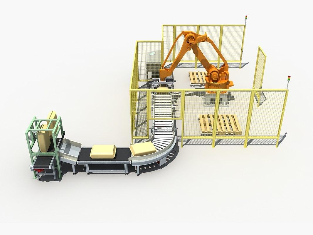 palletizing cell scene 3D model