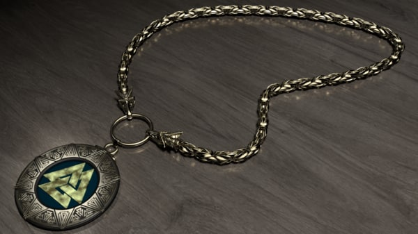 unique valknut necklace 3D