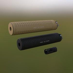 3D supressor silencer flash model