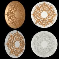 3D model rosette gold