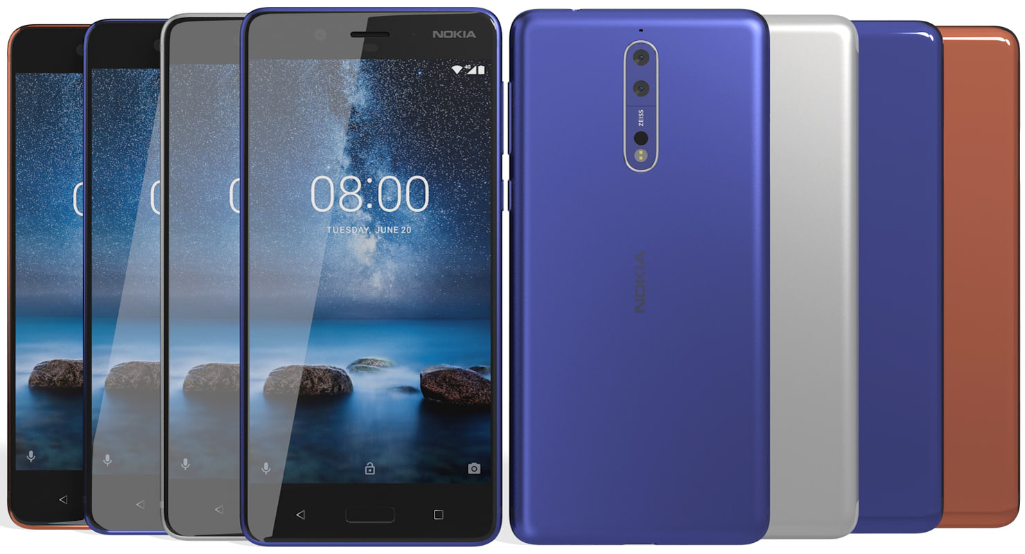 3D realistic nokia 8 colors