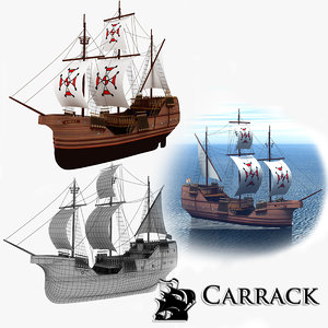 3D model carrack sailing ship