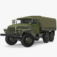 URAL 4320 Truck Off Road 6x6 Vehicle Rigged 3D Model