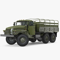 URAL 4320 Truck 6x6 Vehicle Rigged 3D Model