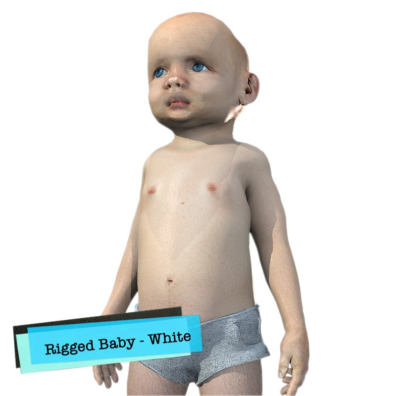 baby character rigged realistic 3D model