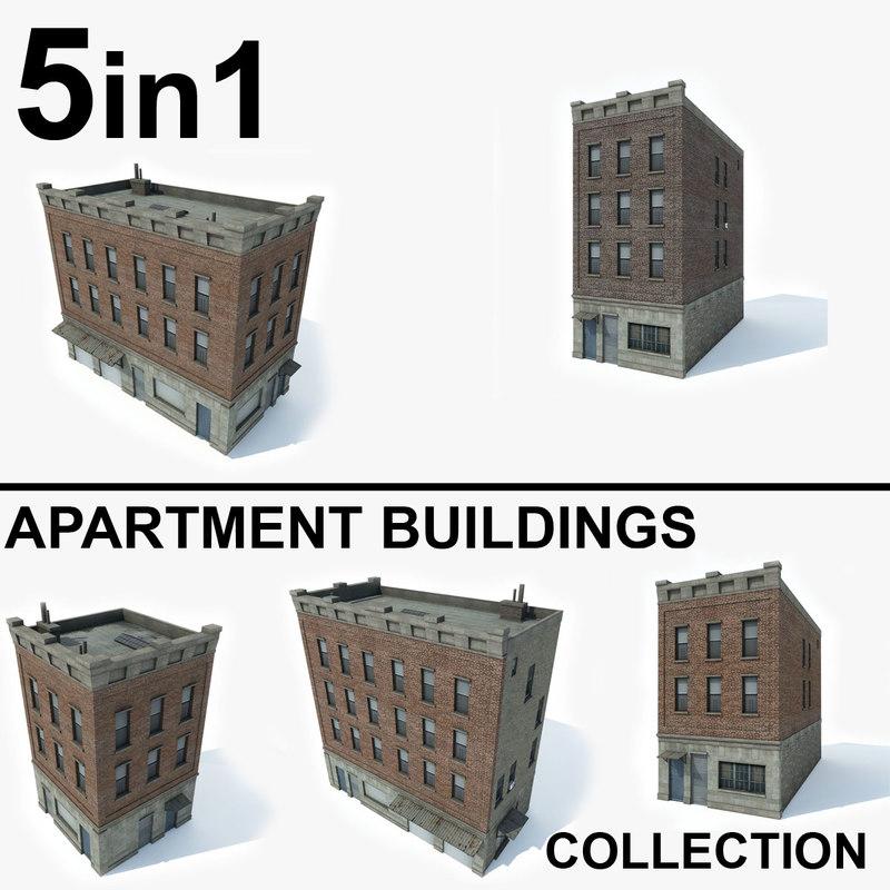 3D 5 apartment buildings 1 model