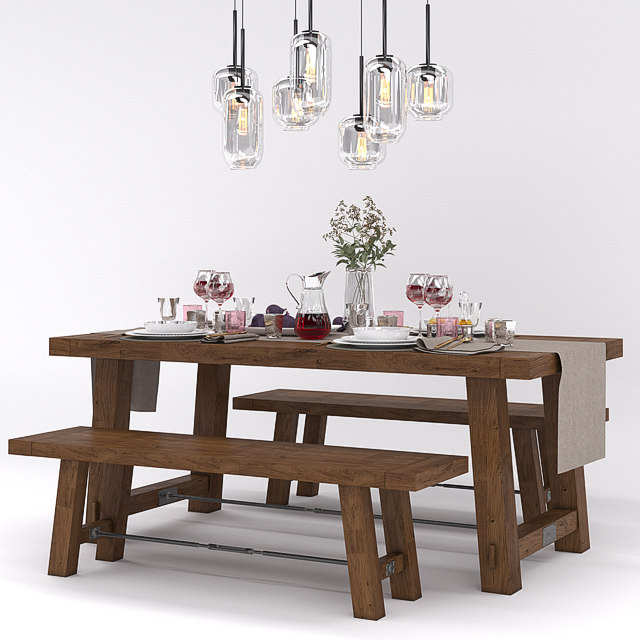 pottery barn benchwright fixed 3D