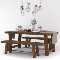Pottery Barn BENCHWRIGHT FIXED DINING TABLE and BENCH set summer
