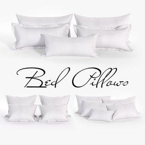 white bed pillows 02 3D model