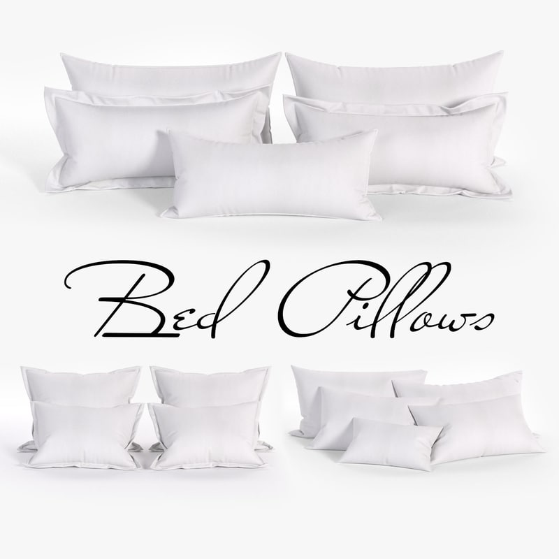 white bed pillows 02 3D model