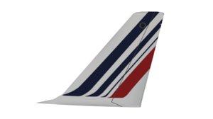 3D model tail airbus a320 air france