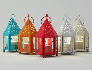 mini hurricane candle lanterns 3D model
