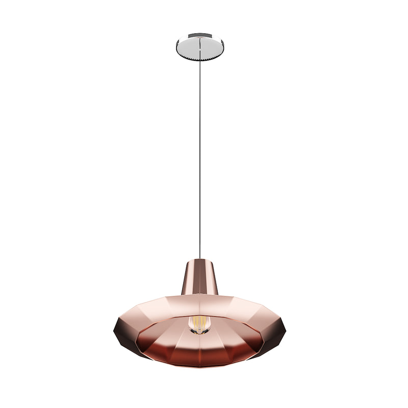 3D model ceiling lamp copper shade