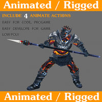 soldier rigged animate 3D model