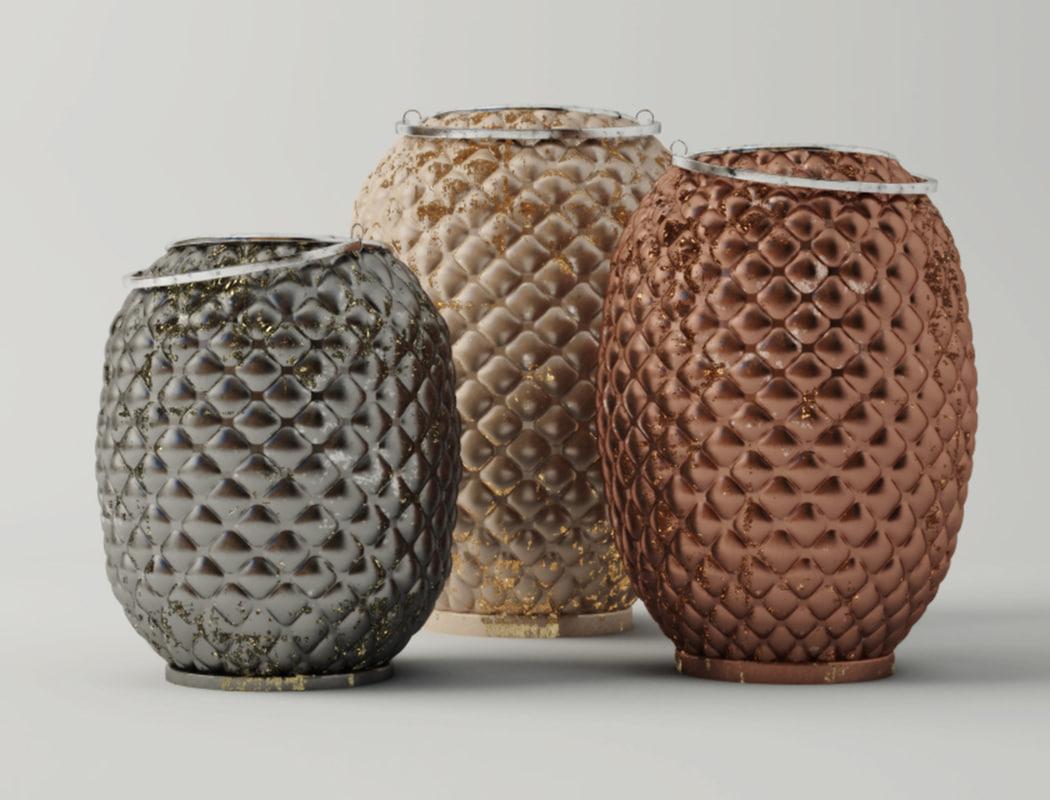 3D model pineapple lanterns