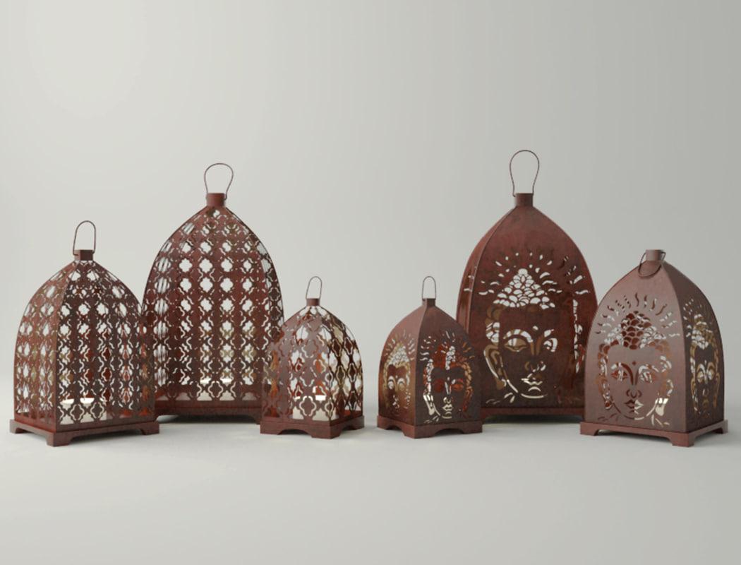 rust lantern set 3D model