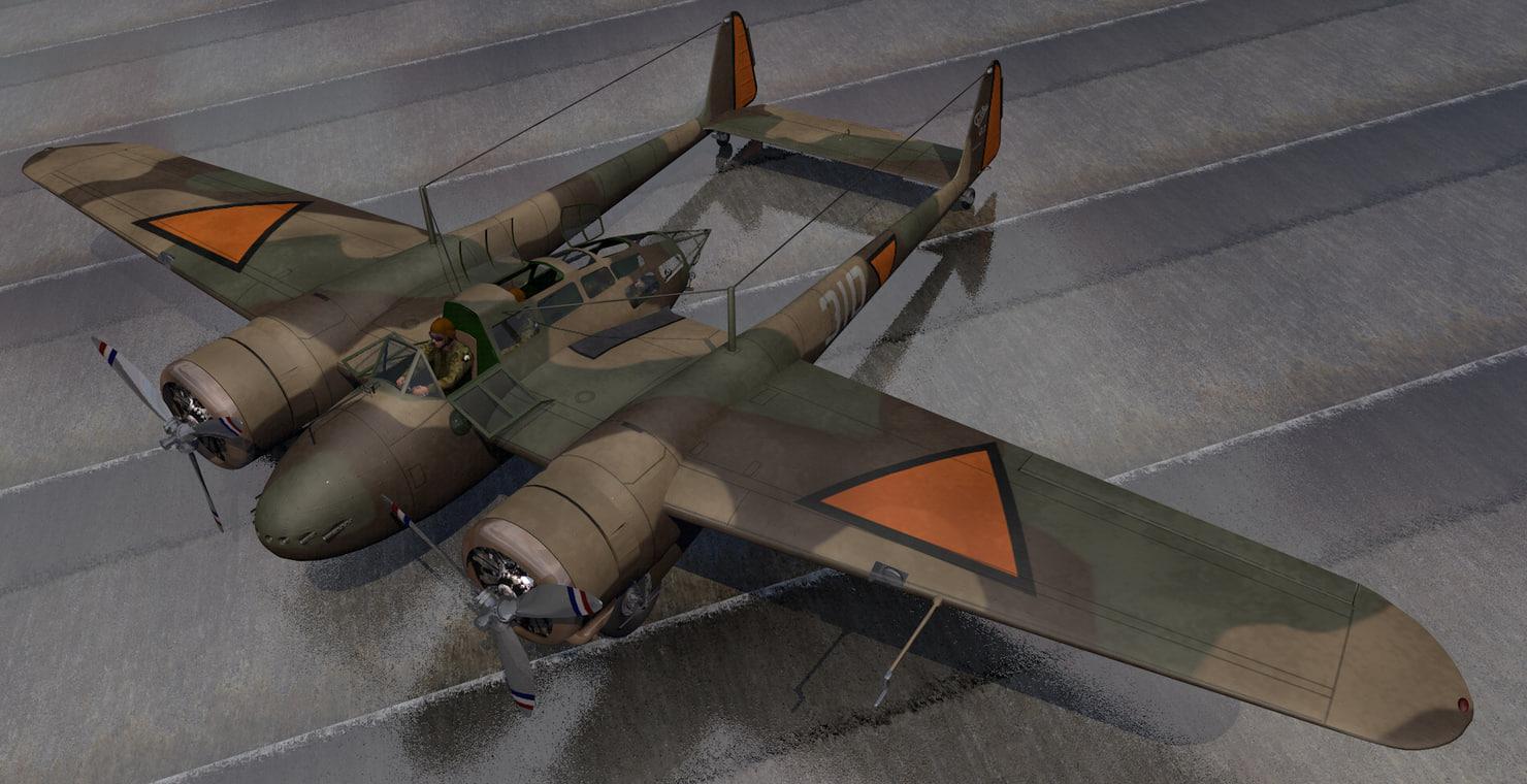 plane fokker g-1 faucher 3D model