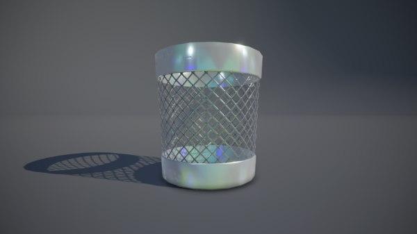 3D pbr trash bin model