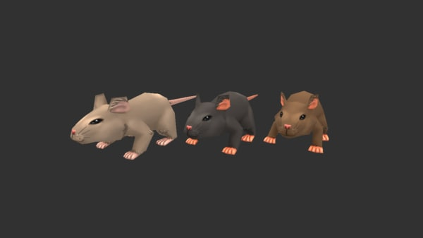 hand painted rat 3D model