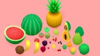 Low Poly Cartoon Fruits Pack