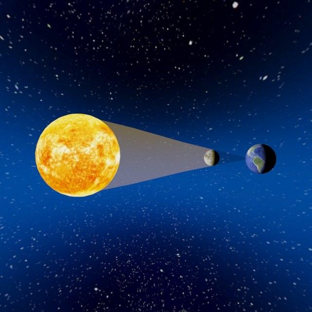 3D eclipse moon shadow