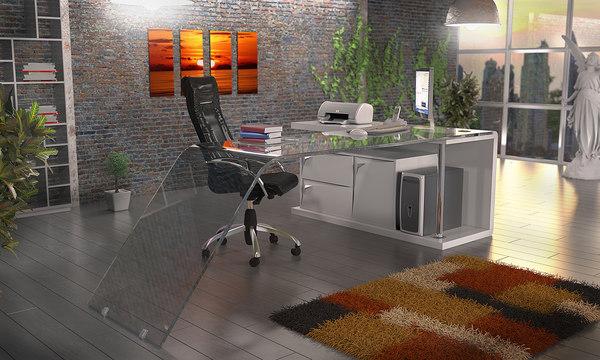 3D model exclusive glass desk
