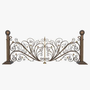 3D model wrought iron fence