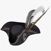 pirate hat 01 worn 3D model