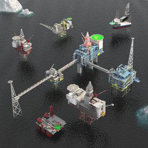 oil rig platform pack 3D model