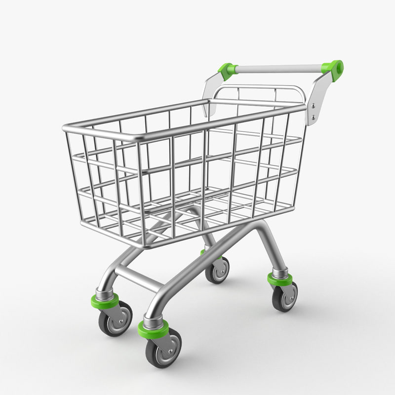 cartoon shopping trolley 3D model