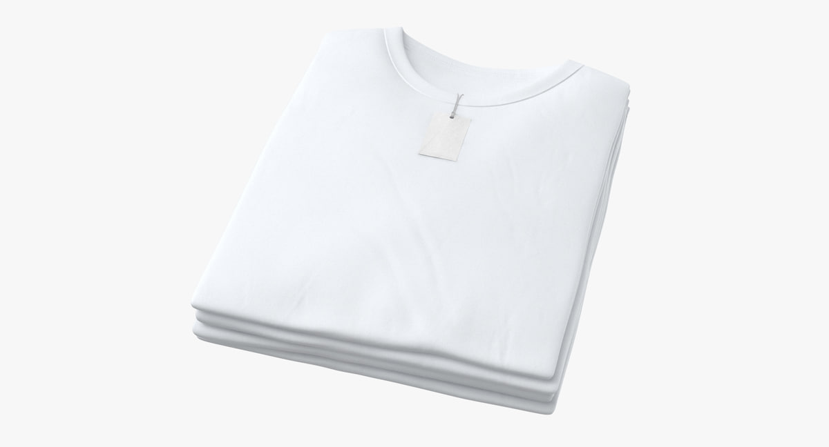 male crew neck folded 3D model