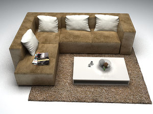 l shape sofa 3D model