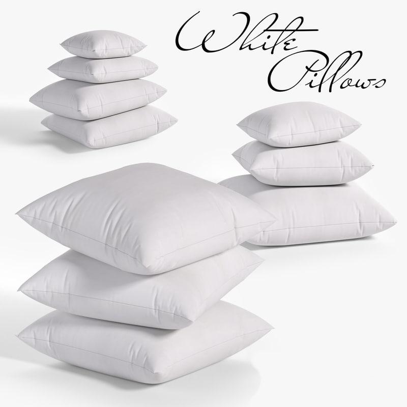 3D model white pillows 03 3