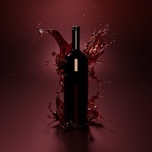 wine splash bottle 3D model