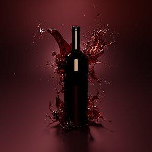 wine splash bottle 3D model