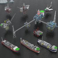 oil rig platform fpso 3D model