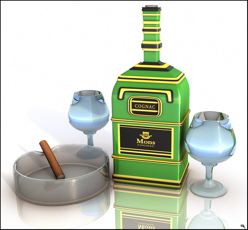 bottle cognac glass 3D model