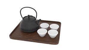 3D japanese art teapot set