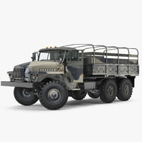 Military Truck URAL 4320 Rigged 3D Model