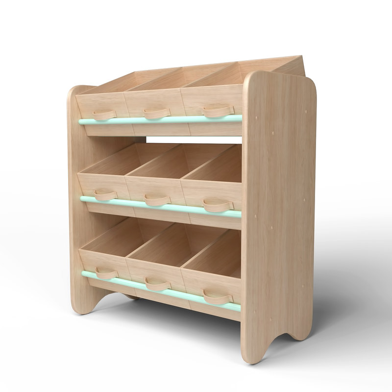 3D wood storage box shelf