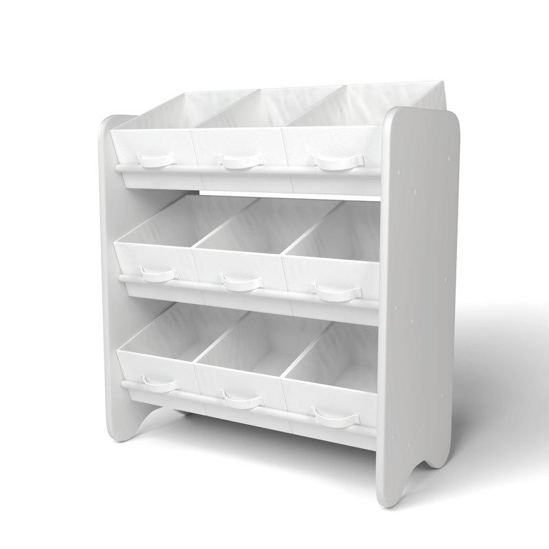 3D model white storage box shelf