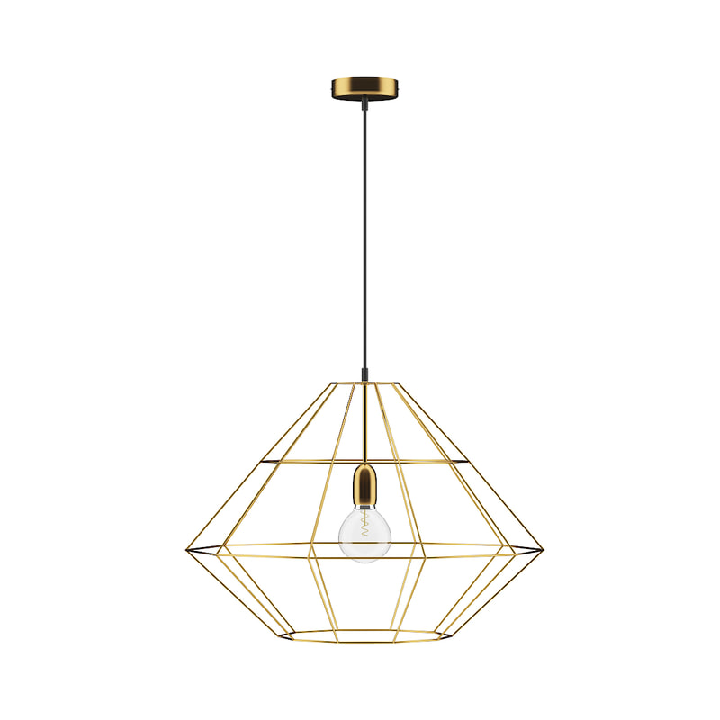 3D model golden wire ceiling lamp