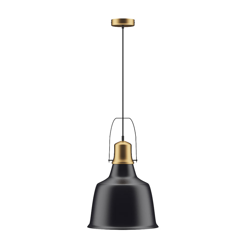 3D industrial black gold ceiling lamp model
