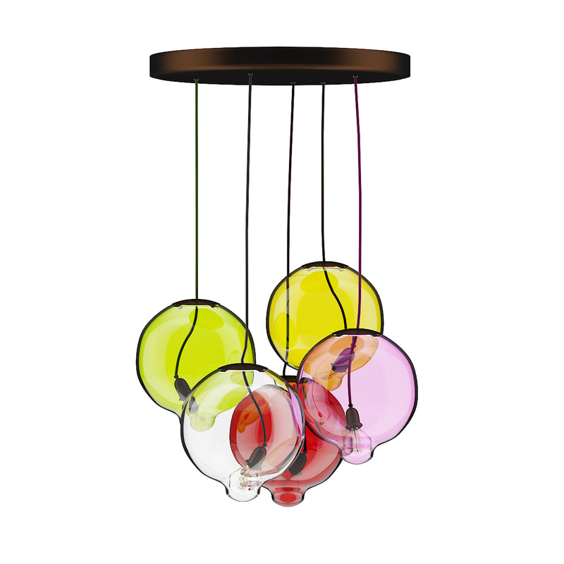 colored glass ceiling lamp 3D