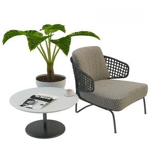 garden armchair aston cord 3D model