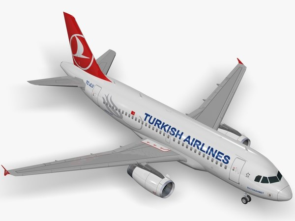 3D airbus a319 turkish airlines