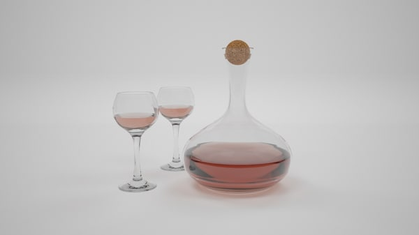 carafe decanter glasses wine 3D